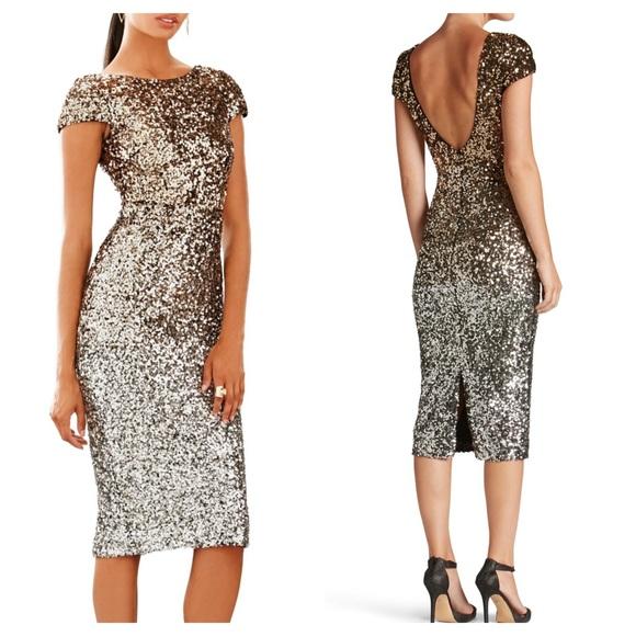 d443bf35 Dress the Population Dresses   Marcella Sequin Ombre Scoop Back Midi ...